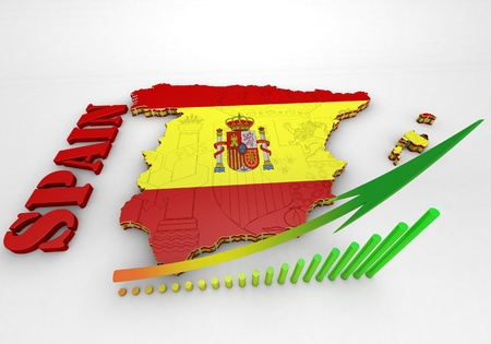 ibiza: 3D map illustration of SPAIN with flag Stock Photo