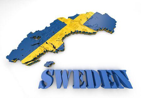 3D map illustration of Sweden with flag illustration