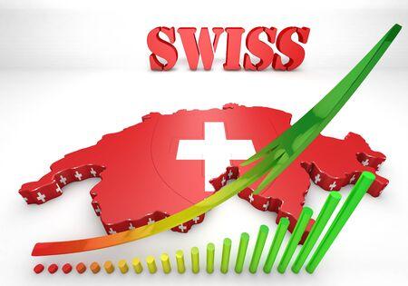 matterhorn: 3D Map illustration of Switzerland with flag