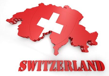 3D Map illustration of Switzerland with flag illustration