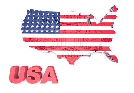 mapped: USA. mapped flag in 3D Illustration politics and patriotism.