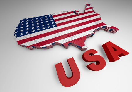 u s: USA. mapped flag in 3D Illustration politics and patriotism.