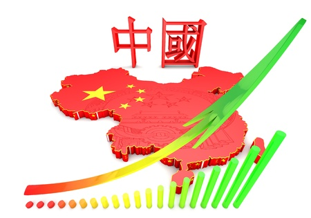 chinese map: Mapa 3D de China en colores de la bandera de China. Foto de archivo