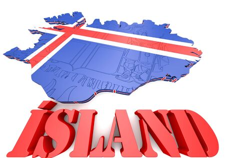 the icelandic flag: 3D map illustration of Iceland with flag and coat of arms