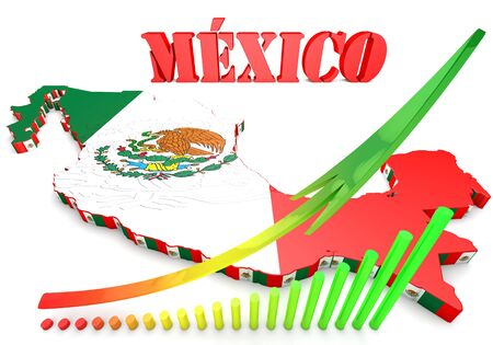cancun: 3d map illustration of Mexico with flag and coat of arms
