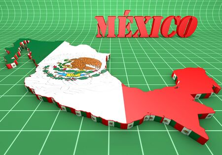mesoamerican: 3d map illustration of Mexico with flag and coat of arms