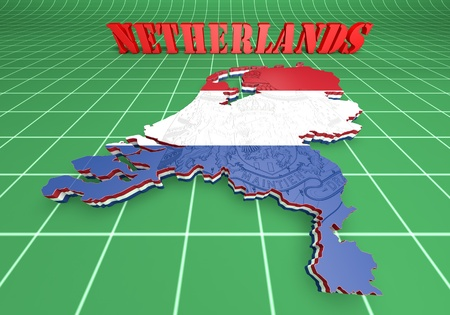 Map illustration of Netherlands with flag with coat of arms illustration