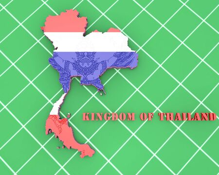 commonwealth: 3D map illustration of Thailand with coat of arms