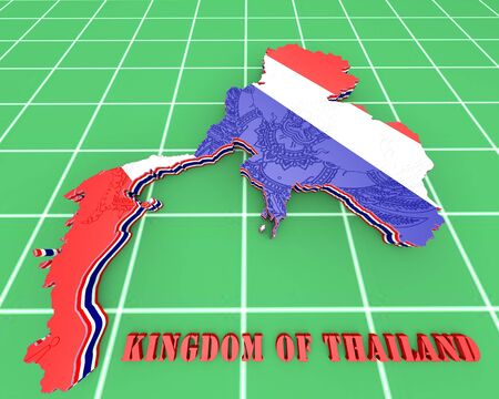 3D map illustration of Thailand with coat of arms