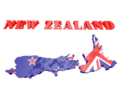 commonwealth: 3D map illustration of New Zealand with coat of arms