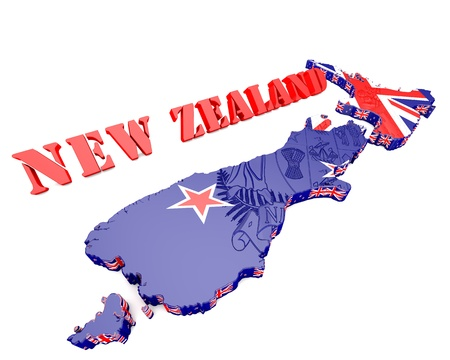 3D map illustration of New Zealand with coat of arms illustration
