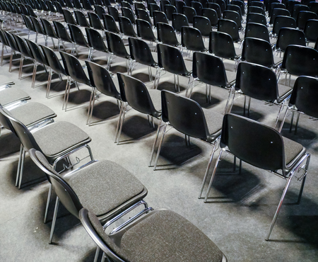 federal hall: Many empty chairs in conference, seminar room Stock Photo