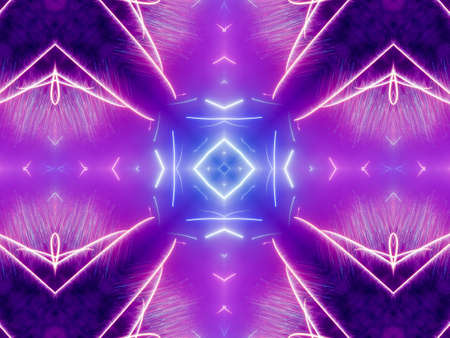 Purple Ethnic pattern. Abstract kaleidoscope fabric design.
