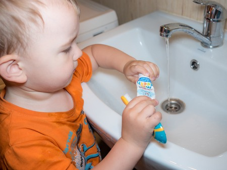 toothbrushing: Cute toddler boy brushing teeth. Teeth cleaning, dental care. Stock Photo