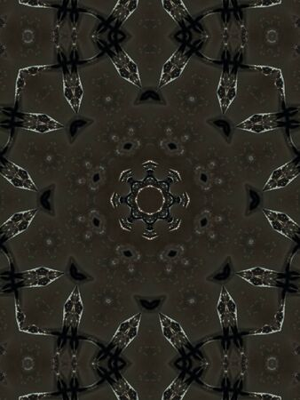art effect: Brown Ethnic pattern. Abstract kaleidoscope fabric design.
