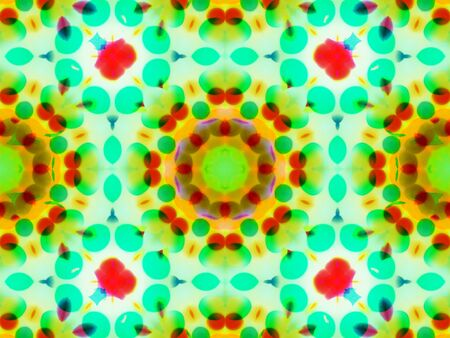 folwer: Green abstract kaleidoscope background star pattern. folwer Stock Photo