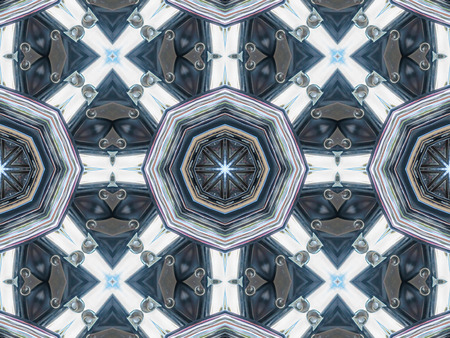 Abstract grey pattern texture, kaleidoscope seamless background Stock Photo