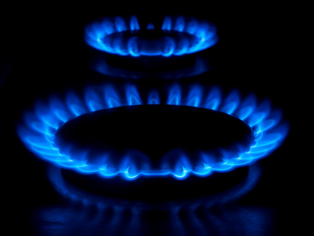 Gas burning from a kitchen gas stove 4k