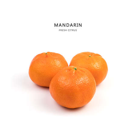 Three Ripe, juicy tangerines on a white background, side view. Fruit background. The concept of proper nutrition and Christmas holidays.