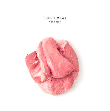 The meat is isolated on a white background. Top view, with space to copy. The concept of natural products.