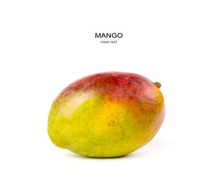 Juicy ripe mango on a white background. Side view with space for copying. The concept of fresh fruit.