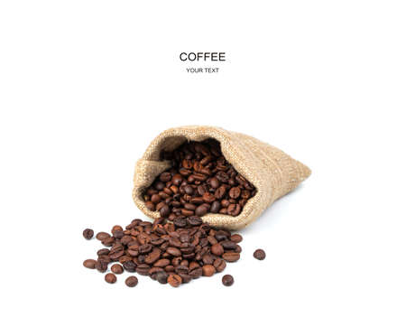 Coffee beans from a linen bag are spilled on the table on a white background. Side view. Coffee background.