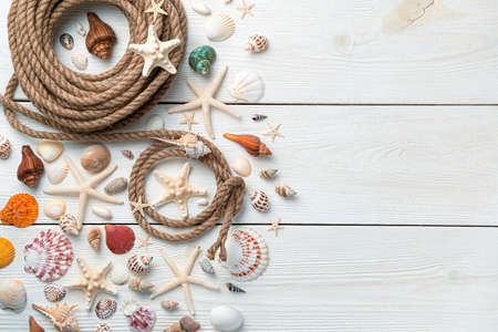 Beautiful seashells, starfish and rope on a light wooden background. Horizontal view, copy space. The concept of summer holidays.