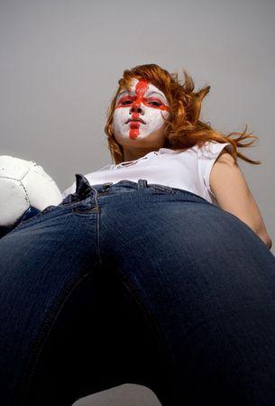english football makeup girl holding soccer ball Stock Photo - 390701