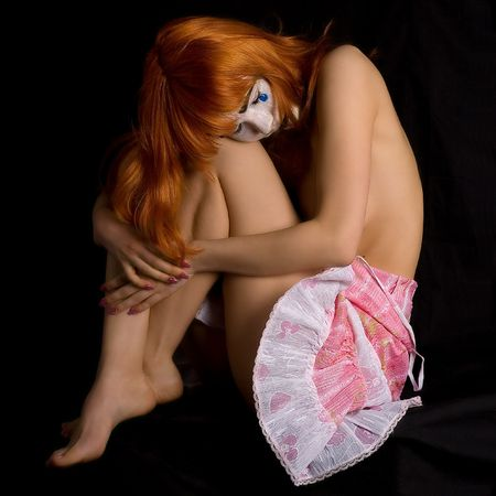 clown face topless girl Stock Photo - 390694