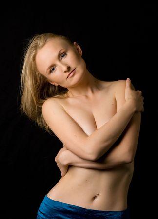 topless girl in blue skirt Stock Photo - 408003