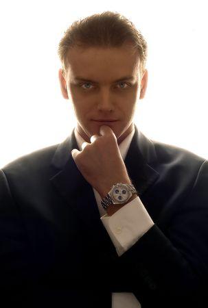 elegant business man: slihouette elegante ritratto di uomo d'affari