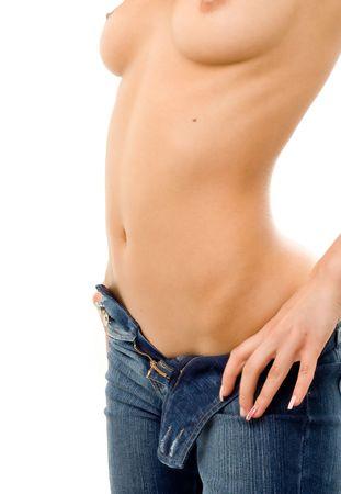 topless M�dchen in den blauen Jeans