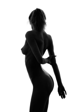 classical black and white nude girl silhouette image Stock Photo - 418853