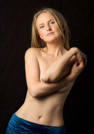 Topless girl in blue skirt Stock Photo - 424022