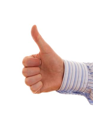 Businessmans Hand With Thumb Up photo