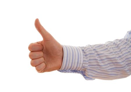 approbation: thumbs up on a white background Stock Photo