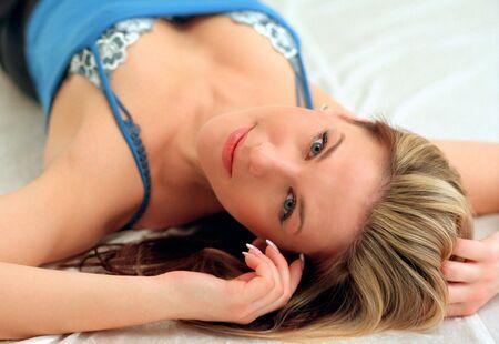 pretty woman in blue Stock Photo - 441720