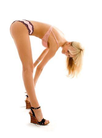 erotic fantasy: fit girl in pink underwear