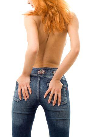 breast pocket: backshot of topless redhead in blue jeans