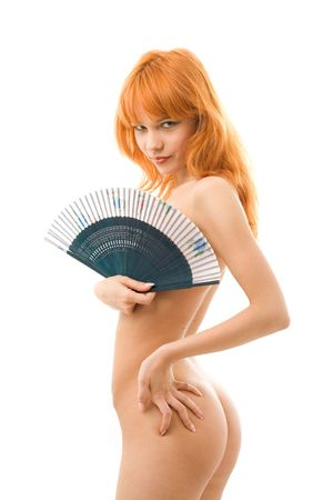 naked redhead with chinese fan