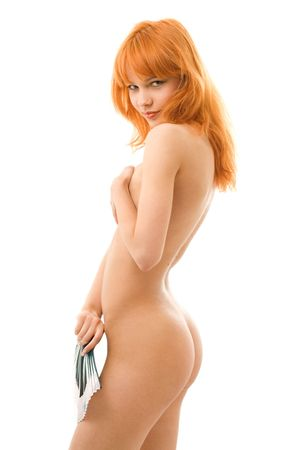 smiling naked redhead with chinese fan