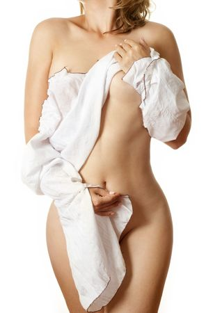 naked girl covering herself with a white shirt Stock Photo - 476325