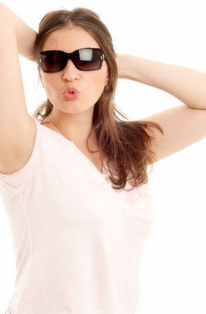 lovely brunette in sun glasses photo