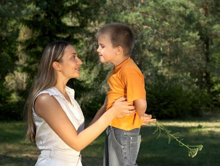 little gentleman surprising his mother Stock Photo - 495613