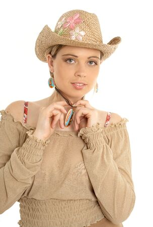pretty girl in country dress photo