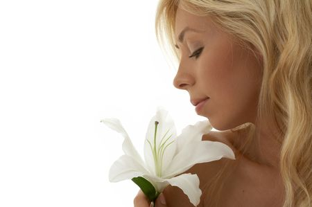 pretty lady with madonna lily Stock Photo