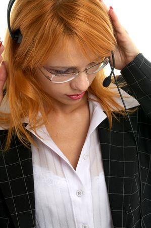 beautiful customer service redhead photo