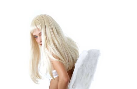 pretty blond with angel wings photo