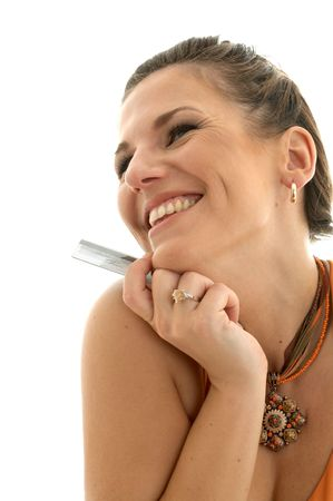 happy woman with credit card Stock Photo - 501855
