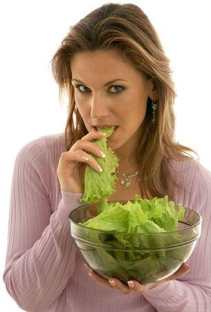 pretty woman eating lettuce Stock Photo - 501856